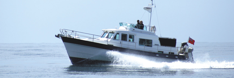Hardy 36 sea boat in sunny, calm conditions